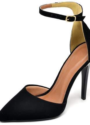 Sapato feminino scarpins aberto salto alto fino preto nobuck