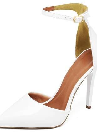 Sapato feminino scarpins aberto salto alto fino verniz branco