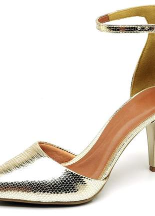 Sapato feminino scarpins aberto salto fino medio metalizado dourado lagarto
