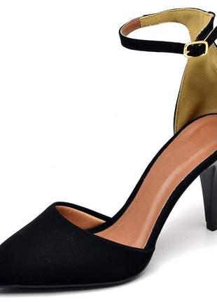 Sapato feminino scarpins aberto salto médio fino preto nobuck