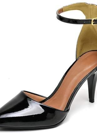 Sapato feminino scarpins aberto salto médio fino verniz preto