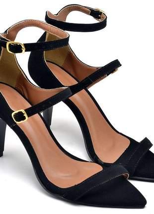 Sandália social feminina bico fino salto médio fino nobuck preto