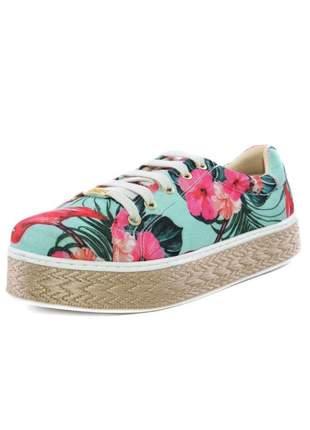 Tênis casual flat confortável floral colorido