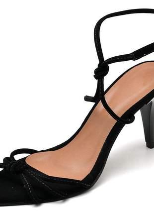 Sandália feminina nó bico fino salto médio fino preto nobuck