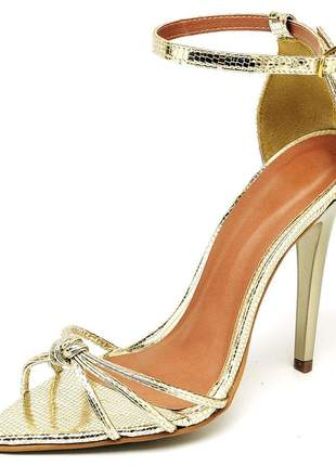 Sandália social nó aberta bico fino salto alto fino metalizado dourado