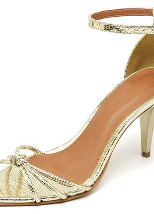 Sandália social nó aberta bico fino salto médio fino dourado