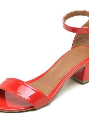 Sandália social tira salto baixo grosso verniz vermelho fivela