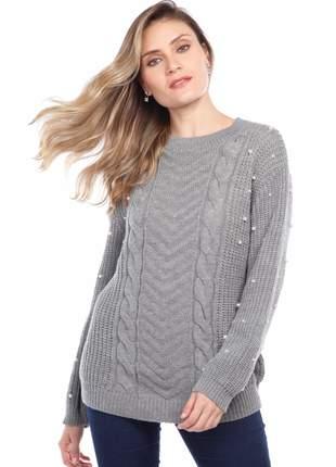 Blusa manga longa ralm tranças - cinza