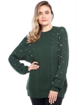 Blusa manga longa ralm tranças - verde