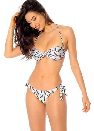 Biquini mos beachwear olivia estampado tigrinho off-white