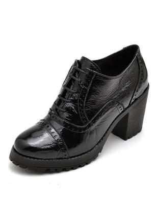 Sapato oxford salto grosso tratorado verniz em couro ref 19000 preto