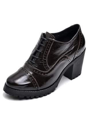 Sapato oxford salto grosso tratorado verniz em couro ref 19000 café