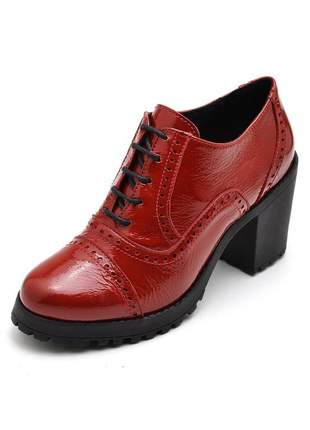Sapato oxford salto grosso tratorado verniz em couro ref 19000 vermelho