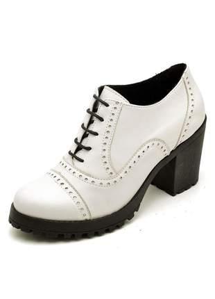 Sapato oxford salto grosso tratorado em couro ref 19000 branco