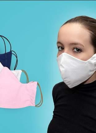 Kit com 2 mascaras 100% algodão dupla face lavável unisex
