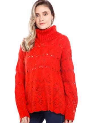 Blusa ralm cashmere rendada e gola alta - vermelho