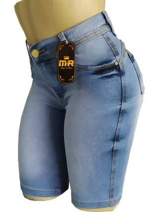 Shorts cintura alta até o joelho com lycra