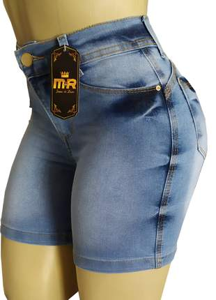Bermudas cintura alta meia coxa jeans lycra