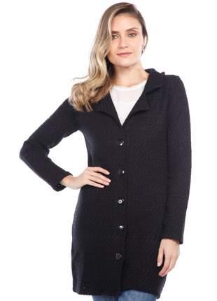 Casaco ralm tweed corte alfaiataria - preto