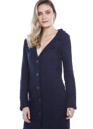 Casaco ralm tweed corte alfaiataria - azul marinho