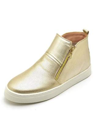 Tênis botinha casual confort em couro ref 26100 ouro