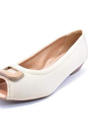Sapato feminino grande peep toe renata della vecchia bege numeração especial 40 ao 44