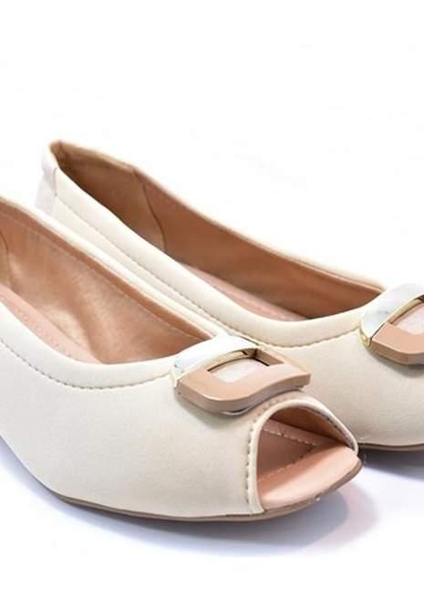 Sapato feminino grande peep toe renata della vecchia bege