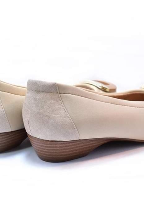 Sapatilha feminina peep toe renata della vecchia creme - R