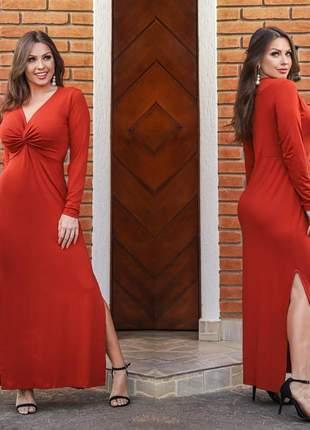 Vestido nozinho manga longa decote acinturado vermelho