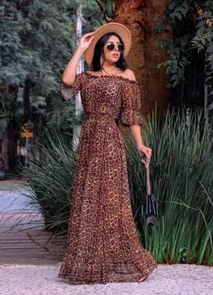 Vestido longo animal print oncinha tule manguinha outono inverno ombro a ombro