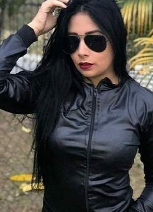 Jaqueta bomber feminina com zíper preta cirrê gg plus size