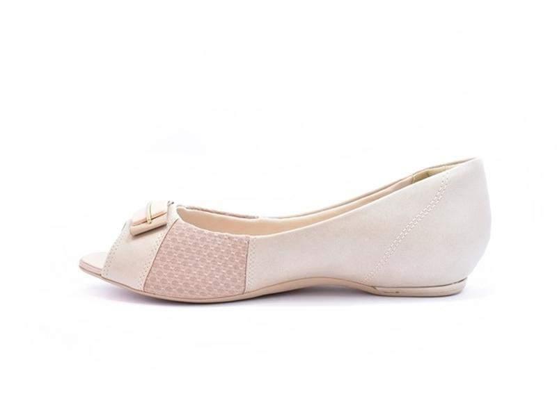 6675380ca ... Sapato feminino peep toe comfortflex azul marinho e avelã numeração  especial 40, 41 e 422 ...