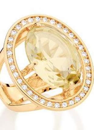 Anel com detalhe vazado e cristal oval rommanel 511849