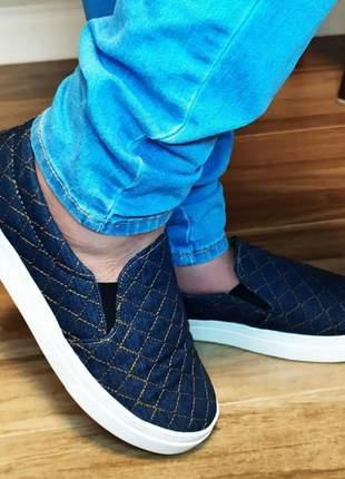 Sapatos femininos numeração grande  40 ao 43 slip on jeans matelasse