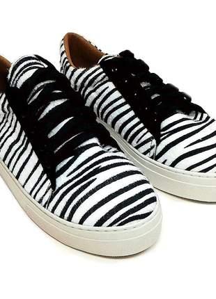 Tênis feminino animal print zebra- solado flat