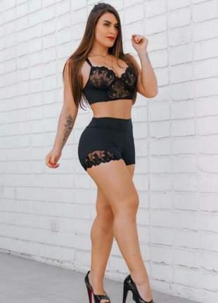 Cropped shorts preto renda justo curto p m g