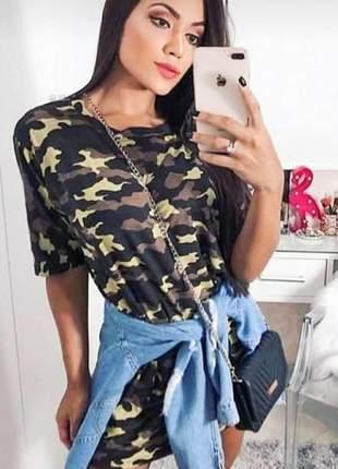Blusa vestido camisão feminino camuflado estampado moda exército