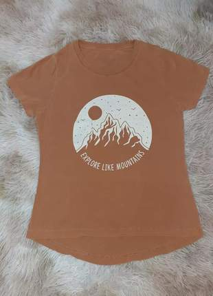 Blusa manga marrom caramelo curta t-shirt blusinha casual camiseta