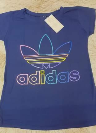 Blusa manga curta t-shirt blusinha casual camiseta colorida
