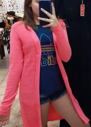 Cardigã rosa casaco casaquinho malha de lã de qualidade modal neon