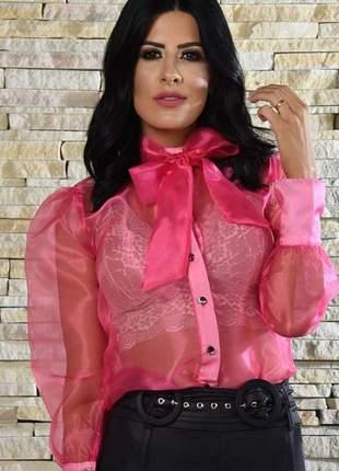 Camisa de organza rosa camilo manga longa bufante com laço rosa pink transparente
