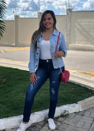 Jaqueta jeans feminina blusa casaco casual básica