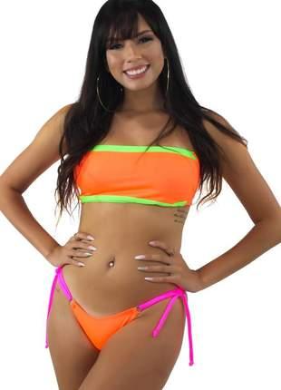 Biquini feminino tomara que caia verde neon laranja