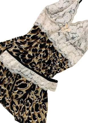 Camisola calcinha oncinha p m g gg lingerie renda pijama