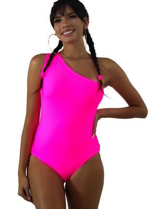 Body neon feminino um ombro só rosa
