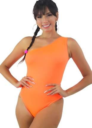 Body neon feminino um ombro só laranja