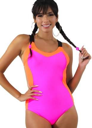 Body neon feminino com alcinha rosa neon