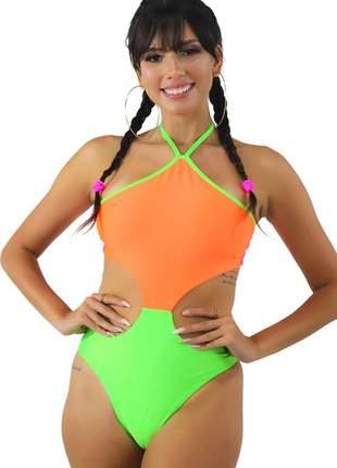 Body neon feminino com cava na cintura multicolorido