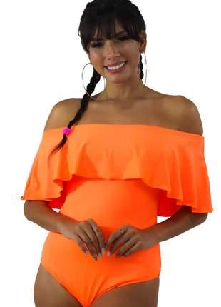 Body neon basic feminino com babado laranja