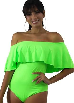 Body neon basic feminino com babado verde